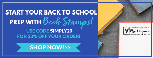 start your back to school prep with Book Stamps, use code simply20 for 20% off your order