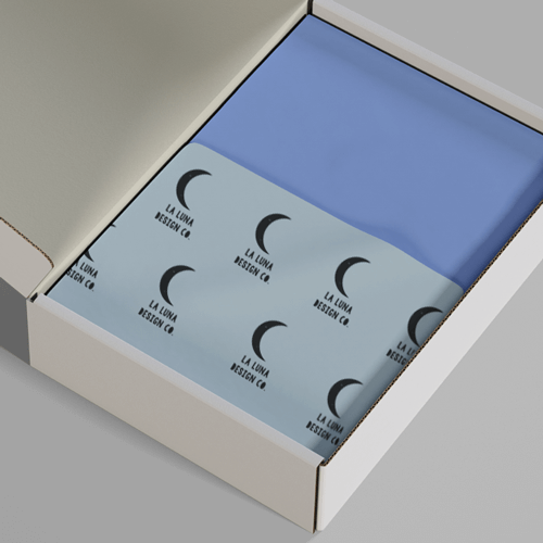 custom stamped tissue paper in box