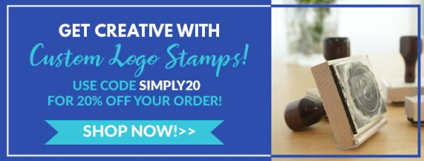 get creative with custom logo stamps, use code simply20 for 20% off your order, shop now