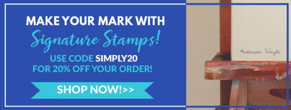 make your mark with signature stamps! use code simply20 for 20% off your order, shop now