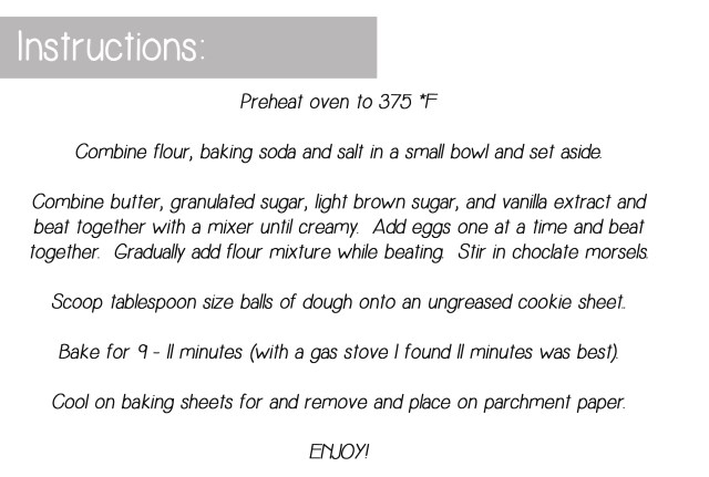 Simply Choclate chip cookies instructions