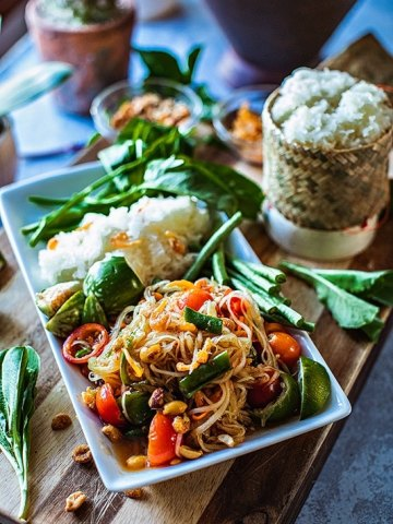 "Thai Papaya Salad or ""Som Tum"" is an extremely flavorful salad made from green, unripe papaya lightly pounded together with garlic, Thai chilies, tomatoes, and green beans. The sweet, tangy, and sour taste comes from fresh lime juice, fish sauce, and palm sugar. #thaipapayasalad #papayasalad #thaisalad #greenpapayasalad"