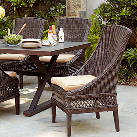 Great It us all weather resin wicker in mahogany This set would be great for a large deck or patio area