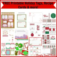FREE Printable Holiday Tags, Recipe Cards & more!