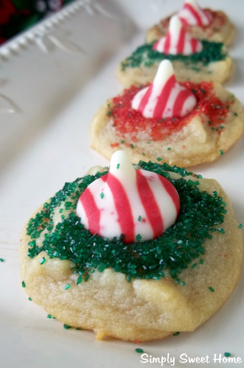 Candy Cane Kiss Cookies