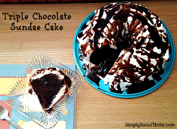 Triple Chocolate Sundae Cake with Slice