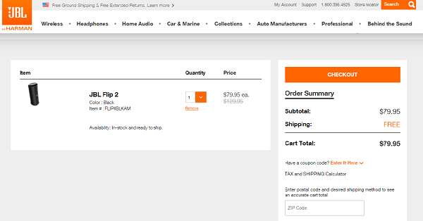 JBL Order Screenshot