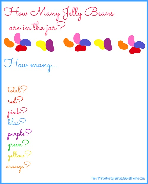 Jelly Bean Game Printable