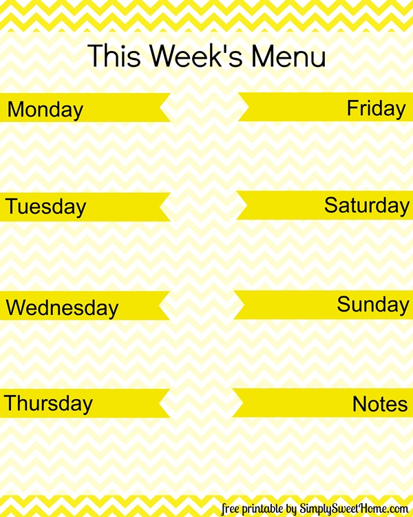 Menu Planning Printable Image