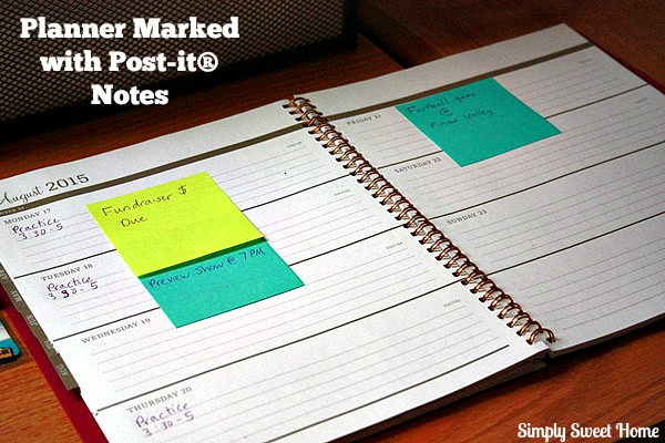 Planner Marked with Post-It Notes