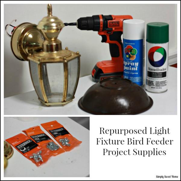 Repurposed Light Fixture Bird Feeder Supplies