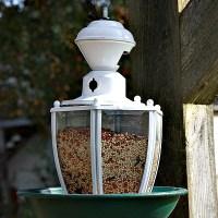 Repurposed Light Fixture Bird Feeder