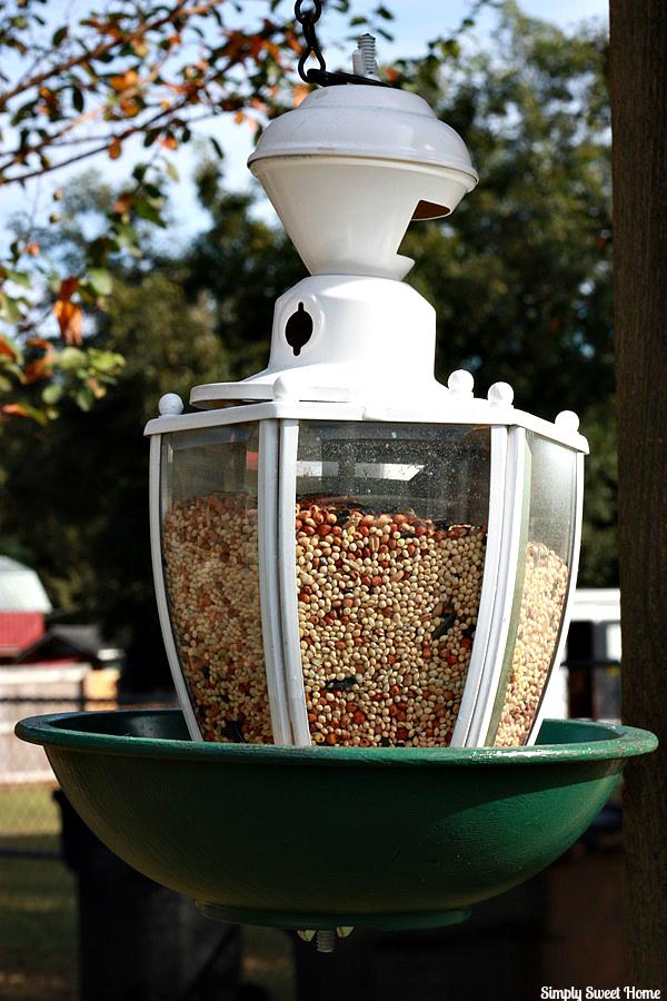 Upcycled Light Fixture Bird Feeder