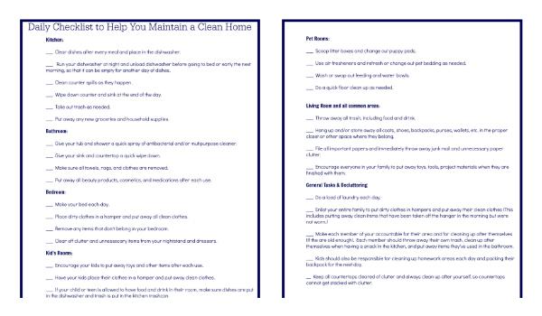 Printable Checklist Preview
