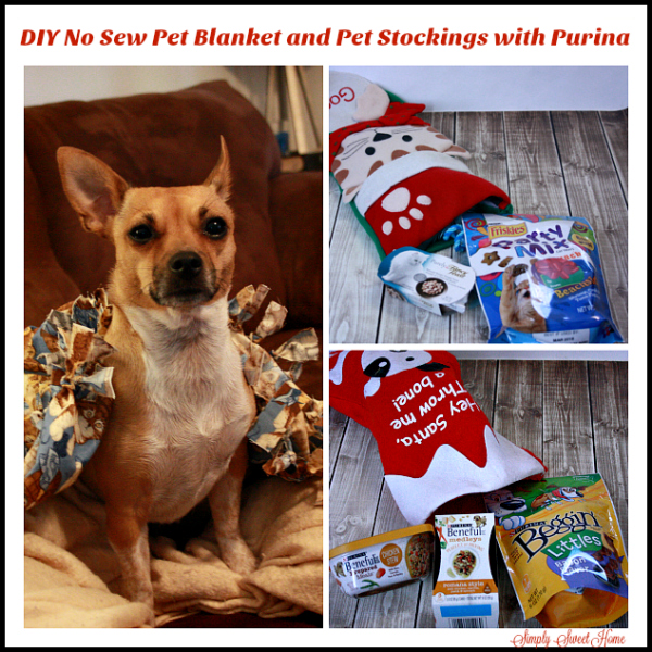 DIY No Sew Pet Blanket and Pet Stockings with Purina