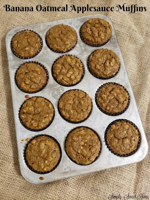 Banana Oatmeal Applesauce Muffins