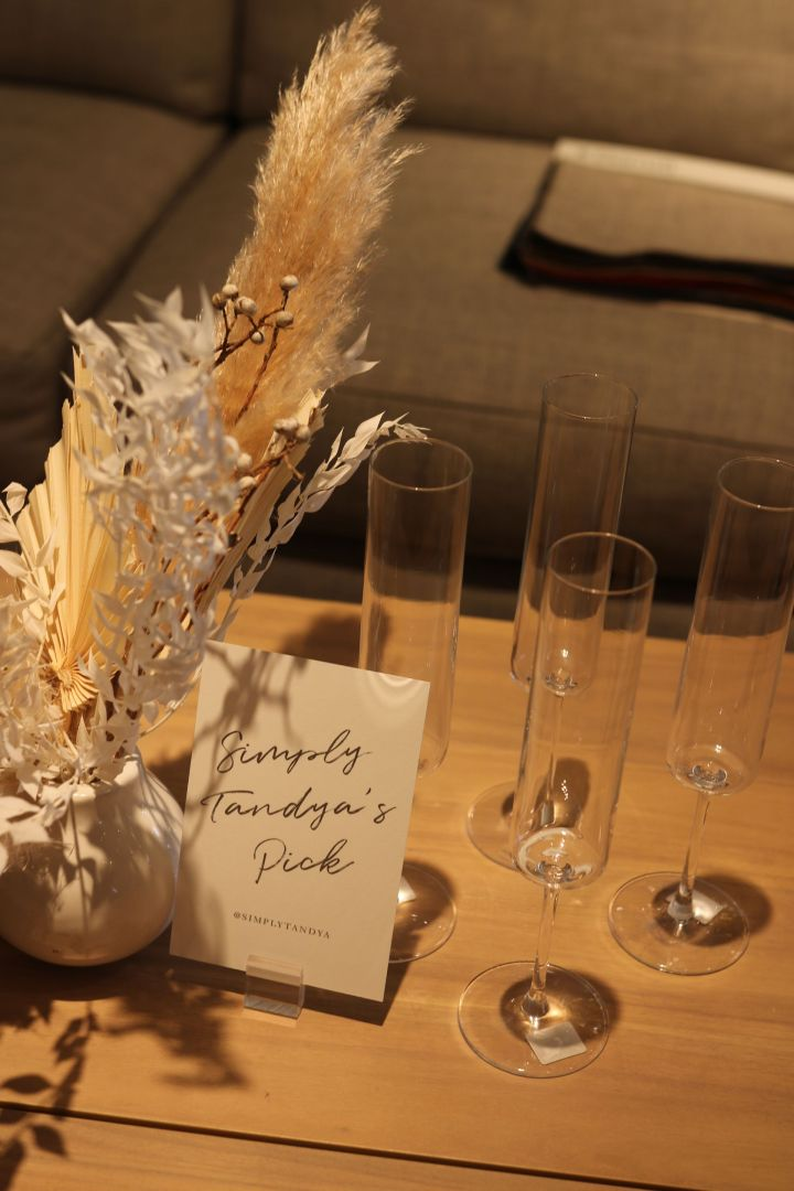 Crate and Barrel Wedding Registry edged champagne glass