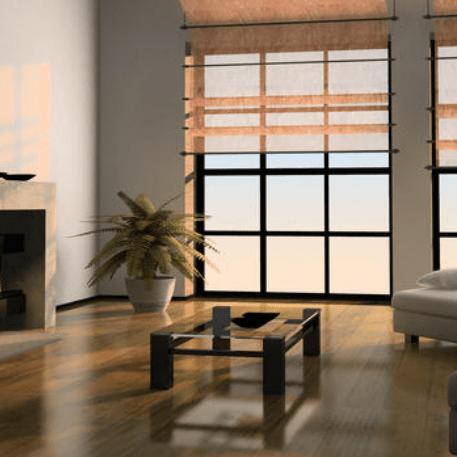 hardwood floors & fireplace in back den