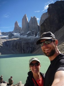 """Tiffany & Christopher enjoying the """"Vagabond Way"""" whilst hiking the 11 day trek in Torres de Paine, Chile"""