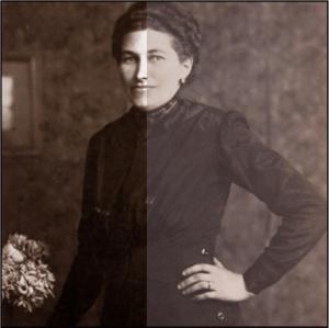 Dame in Kostüm, um die Jahrhundertwende.