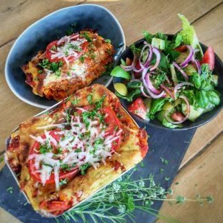 een heerlijke verse vegan lasagne sin carne