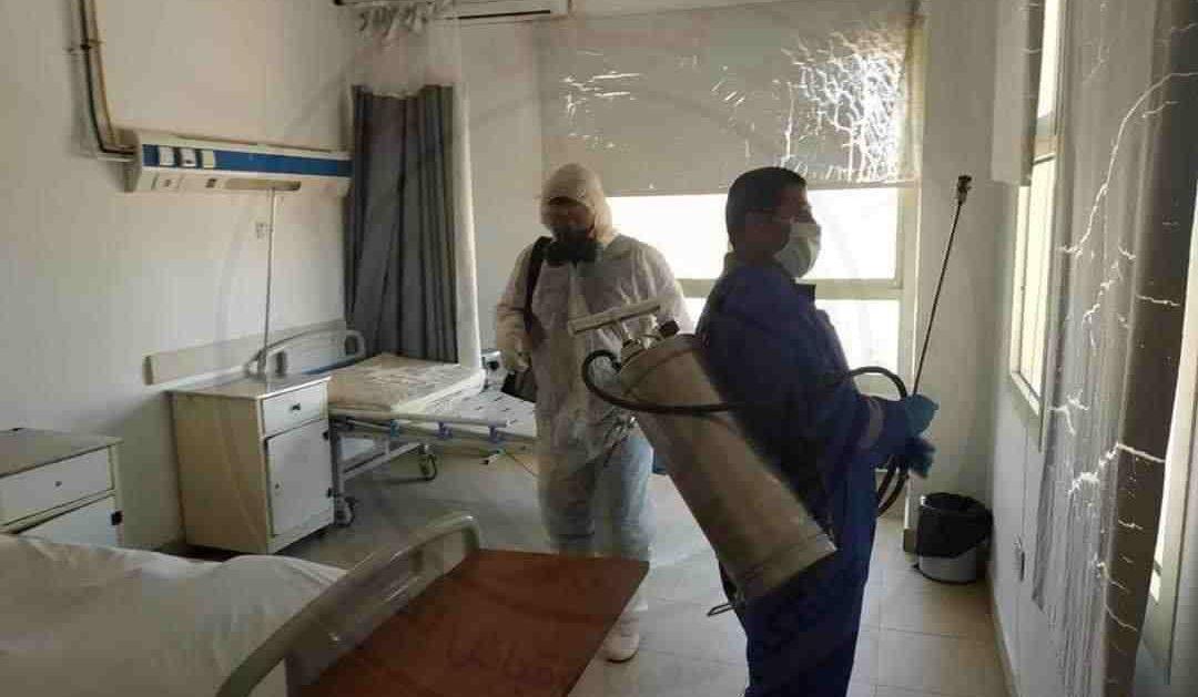 بالصور .. حملة تعقيم لمستشفى بئر العبد بشمال سيناء