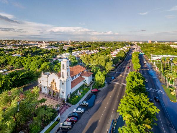 Vista aérea de la Parroquia Santa Inés