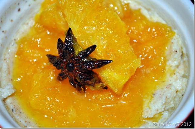 baked yoghurt with cointreau orange compote