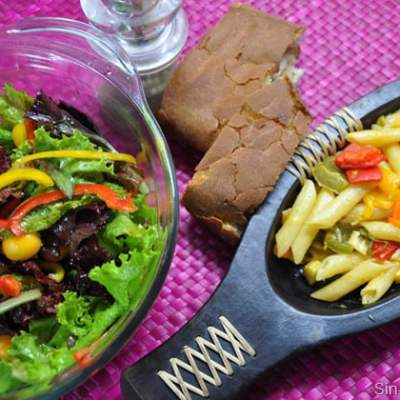 A fresh and summery meal – Pressure Cooker pasta with a Crunchy Salad