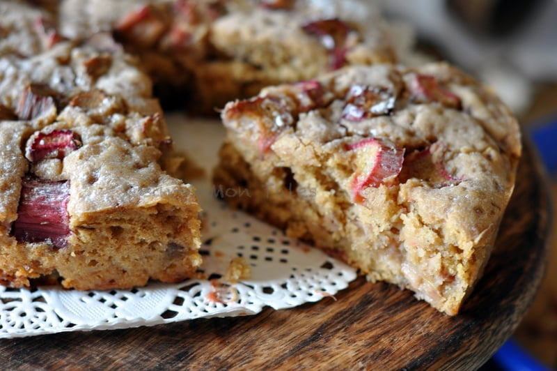 whole wheat spiced rhubarb cake