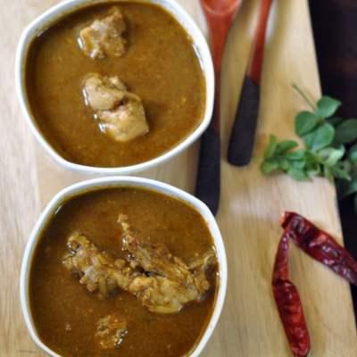 Jowar Roti and Chicken Saaru (Gowda style spicy chicken curry)