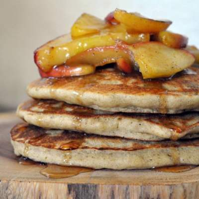 Buckwheat Pancakes with Caramelised Apples