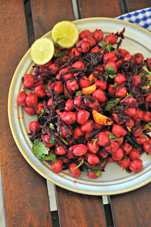 Beetroot & Chickpeas Salad with Burnt Salad