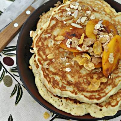 Muesli Pancakes with Caramelized Peaches