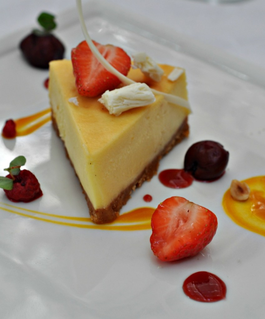 White Chocolate Cheescake with spiced Forest Berry Compote