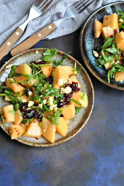 Musk Melon Salad with Cranberries & Feta Cheese