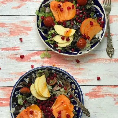 Persimmon and Apples Winter Salad