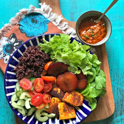 Harissa Grilled Halloumi Salad with Black Rice