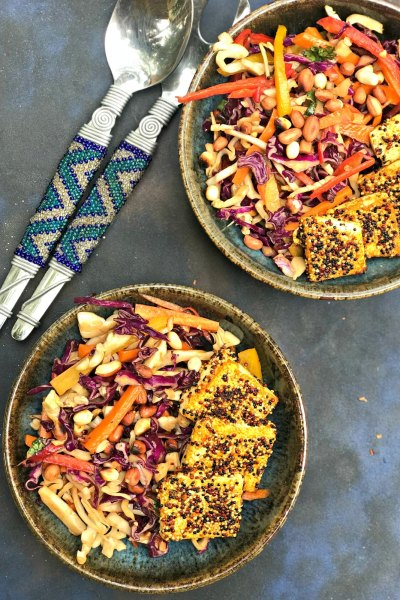 Quinoa Crusted Tofu Salad with Asian Coleslaw