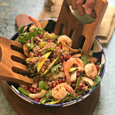 Garlic Shrimps and Red Rice Salad
