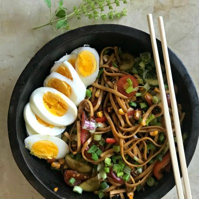 Udon Noodle Salad with Soya Chilli Dressing