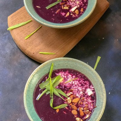 Roasted Black Carrot Soup with Feta & Almonds