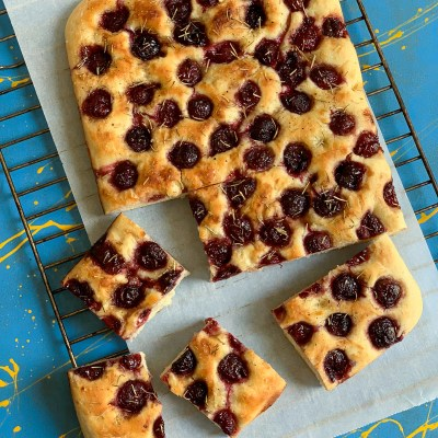 Cherry Focaccia with Rosemary and Balsamic