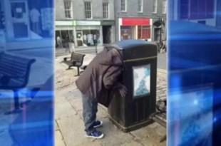 Vagabundo buscaba basura y y se le trabó la cabeza en un tacho