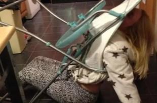Madre ebria queda atascada en la silla de su bebé - Fotos
