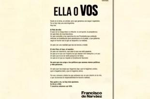 La provocativa solicitada de De Narváez contra Cristina Kirchner
