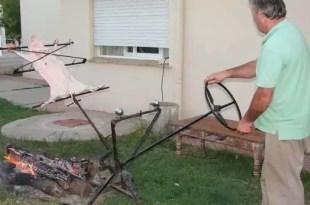 Insólito: Crean increíble asador con volante