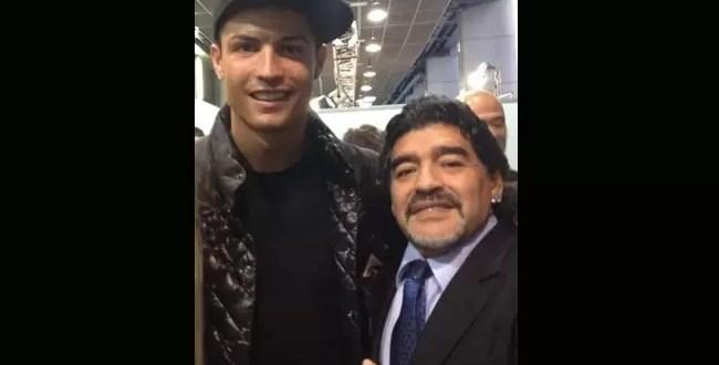 Foto de Cristiano Ronaldo y Diego Maradona
