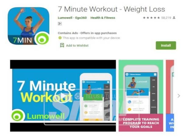 APLIKASI 7 Minute Workout membantu wanita bekerjaya workout di rumah sahaja.