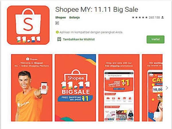 APLIKASI Shopee menawarkan diskaun menarik sempena 11.11 Big Sale.